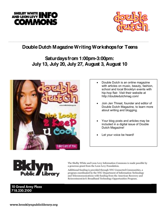 Double Dutch Magazine to Host Writing Workshops at Brooklyn Public Library's Central Branch