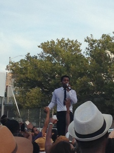 Lead Singer, Ty, of Vintage Trouble surfs the crowd